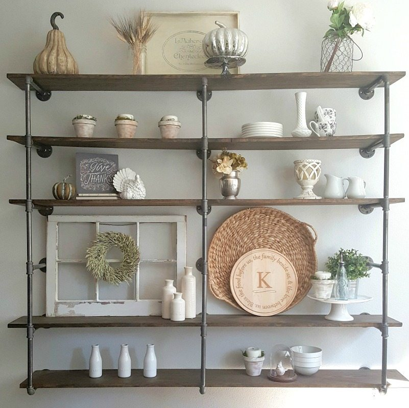 DIY pipe shelf styled with neutrals for fall