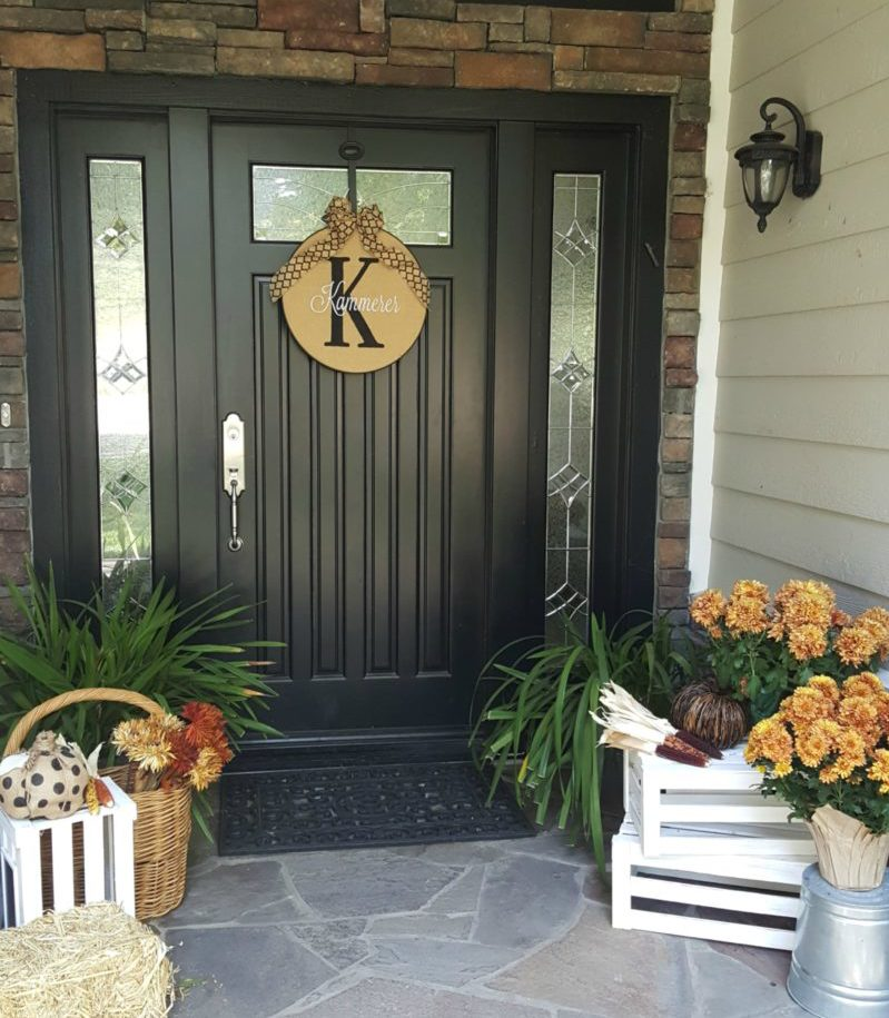 Fall front door with mums and white crates