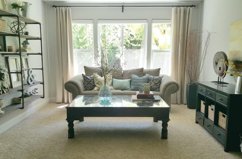 living room with diy drop cloth curtains