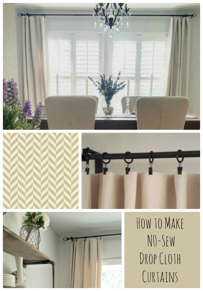 No-sew drop cloth curtain tutorial