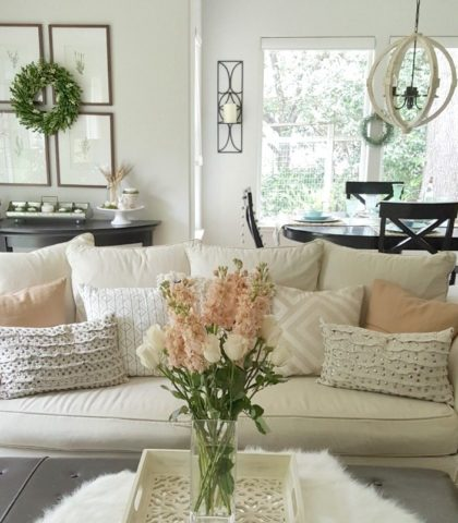 Fall Home Tour with neutrals and seasonal pillows