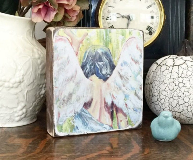 Interview with an artist Sophie Dentist the Back Home Market angel-wing block art to add meaning and inspiration to your home decor
