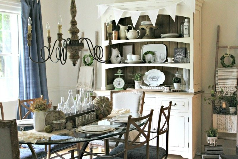 Antique Farmhouse Chandelier in Farmhouse Fall Dining Room