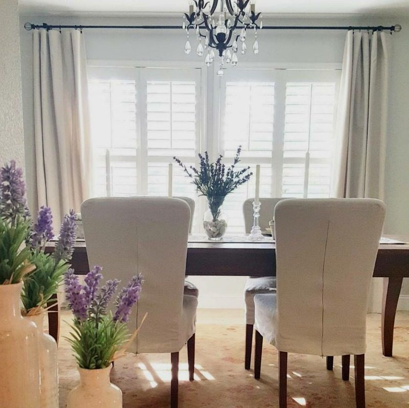 DIY Drop cloth curtains dining room view