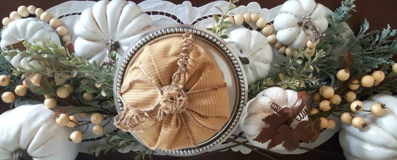 Gorgeous table centerpiece is created with these DIY vintage inspired painted pumpkin tutorial