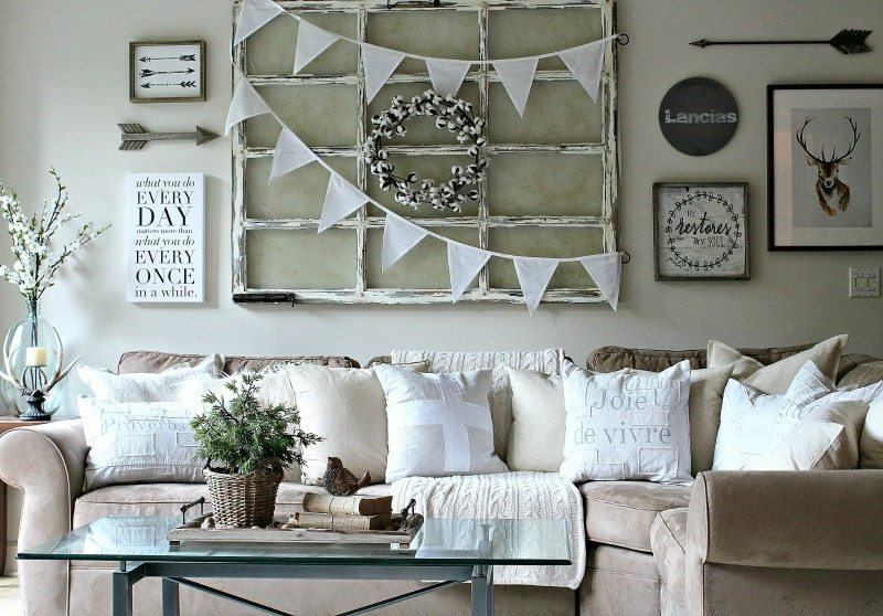 Fall neutral white family room with gallery wall