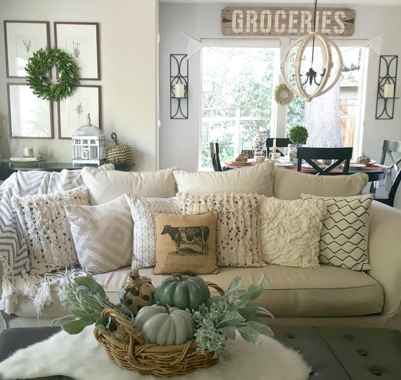 fall couch decorated with neutrals and soft greens