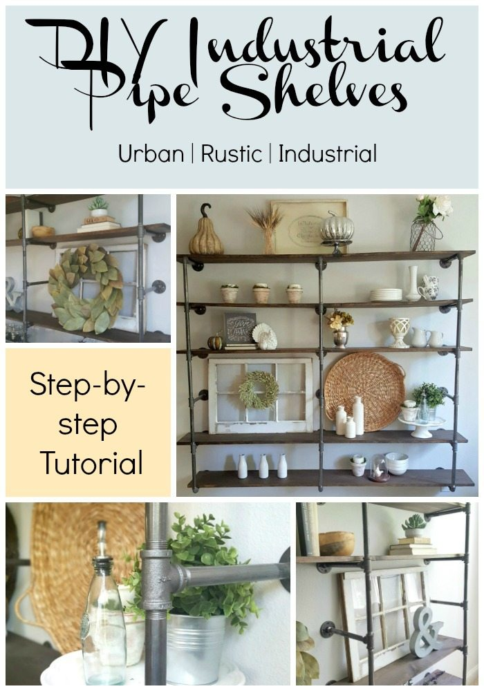 diy industrial pipe shelves for an urban rustic farmhouse look. Check out the blog post and learn how to do this shelf.