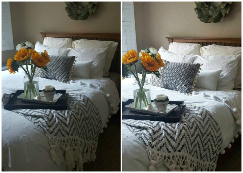 Swoon-worthy photos: editing on IG before and after bedroom photo with wreath, throw, sunflowers