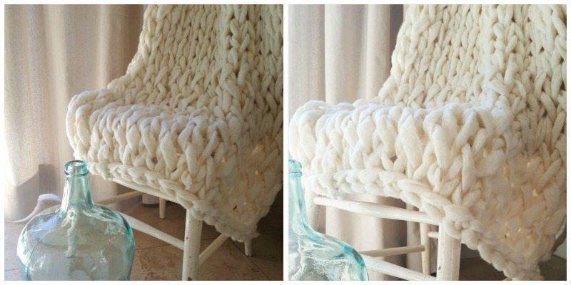 hand-knit arm knitting blanket with before and after editing