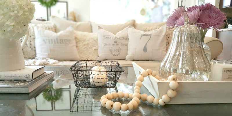 coffee table decor with view of handmade pillows