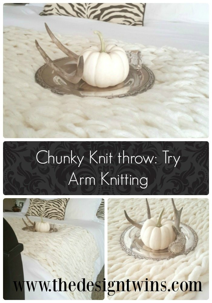 Chunky knit throw is an affordable luxury when you do it yourself.