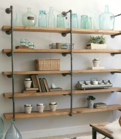 DIY Industrial Pipe Shelves
