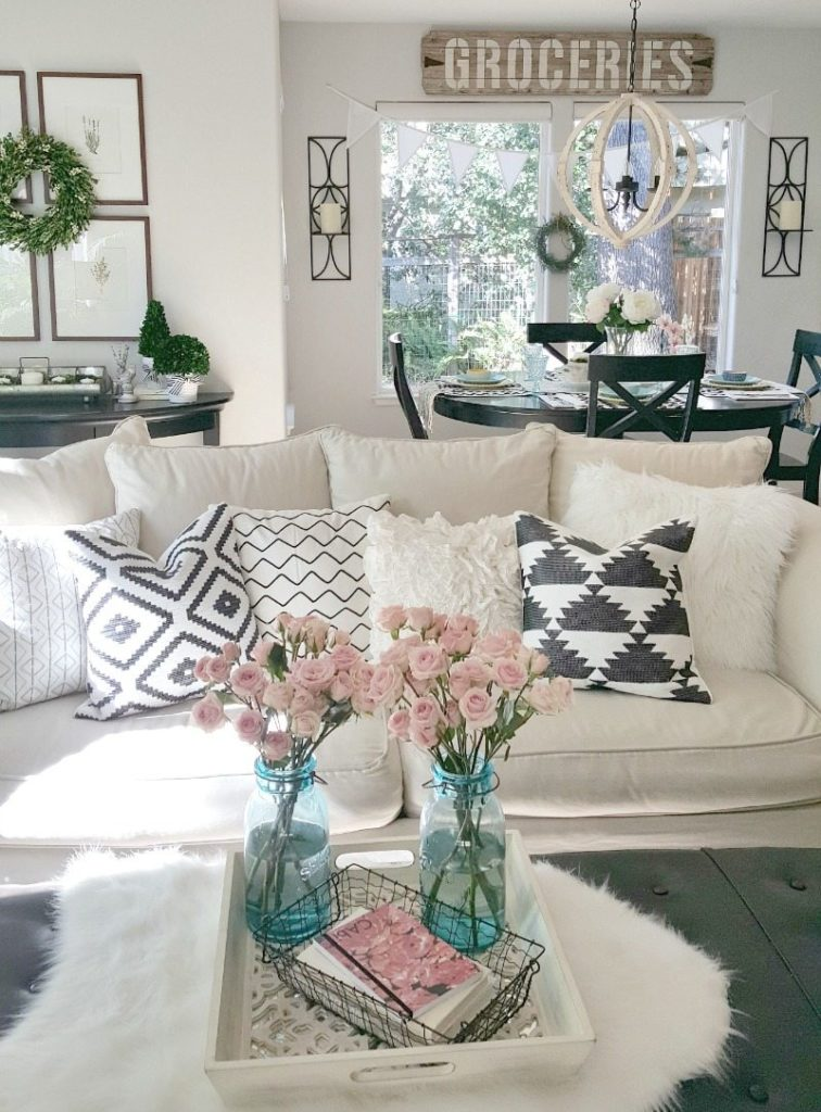 graphic pillows accent flowers create pretty pictures