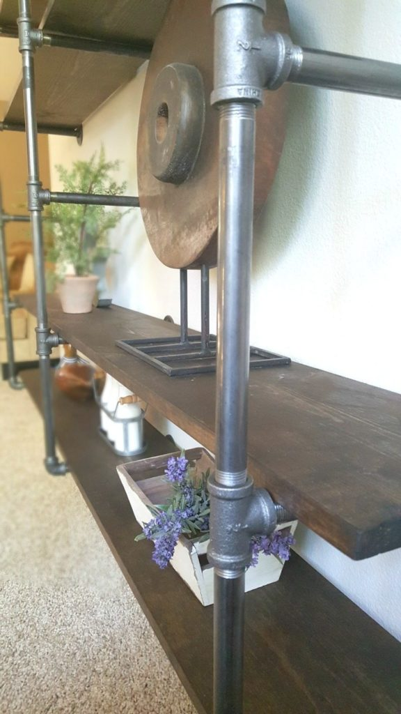DIY industrial pipe shelves- modern yet rustic vibe
