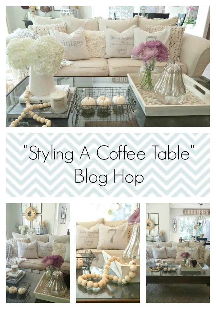 coffee table styled with neutral fall decor