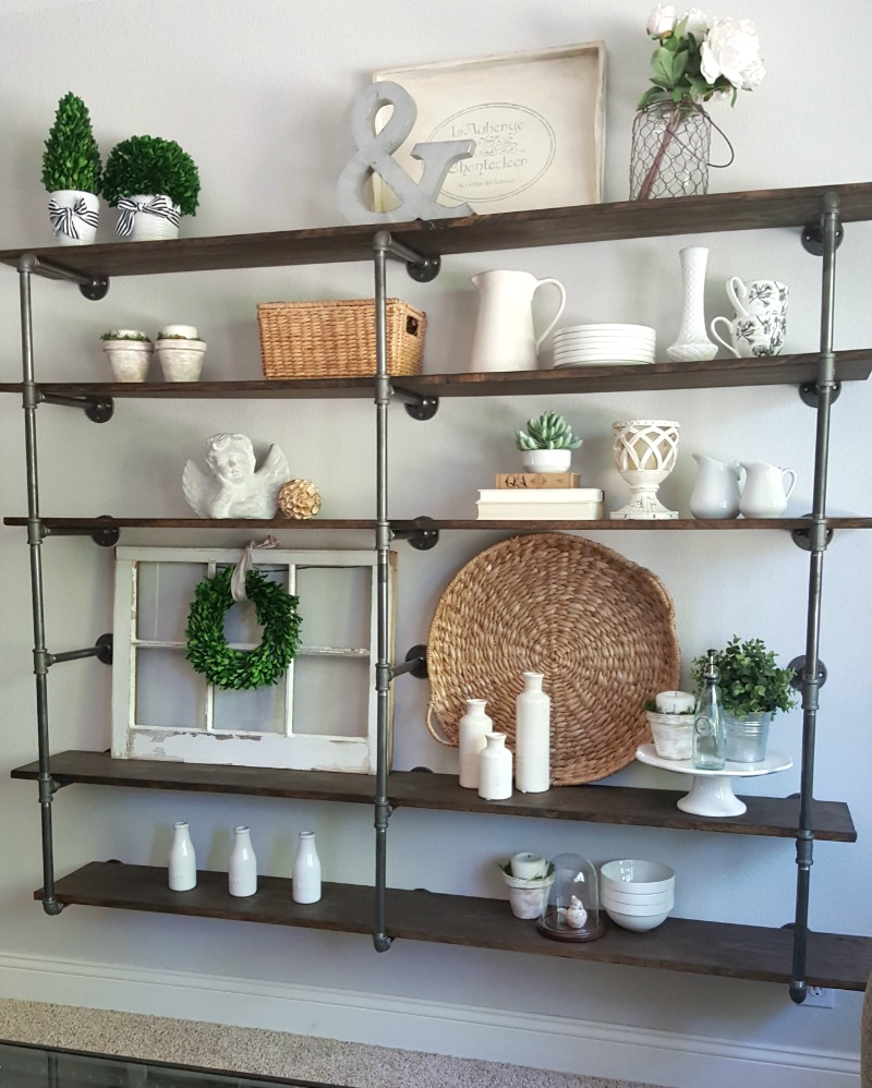 DIY industrial pipe shelves with white and summer botanicals for a farmhouse summertime look
