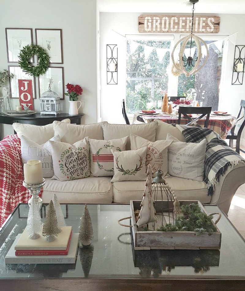 inspired Christmas decor family room with holiday pillows