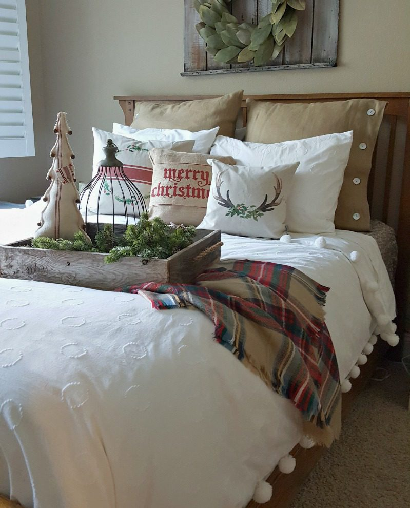 pompom bedding plus reclaimed barn wood
