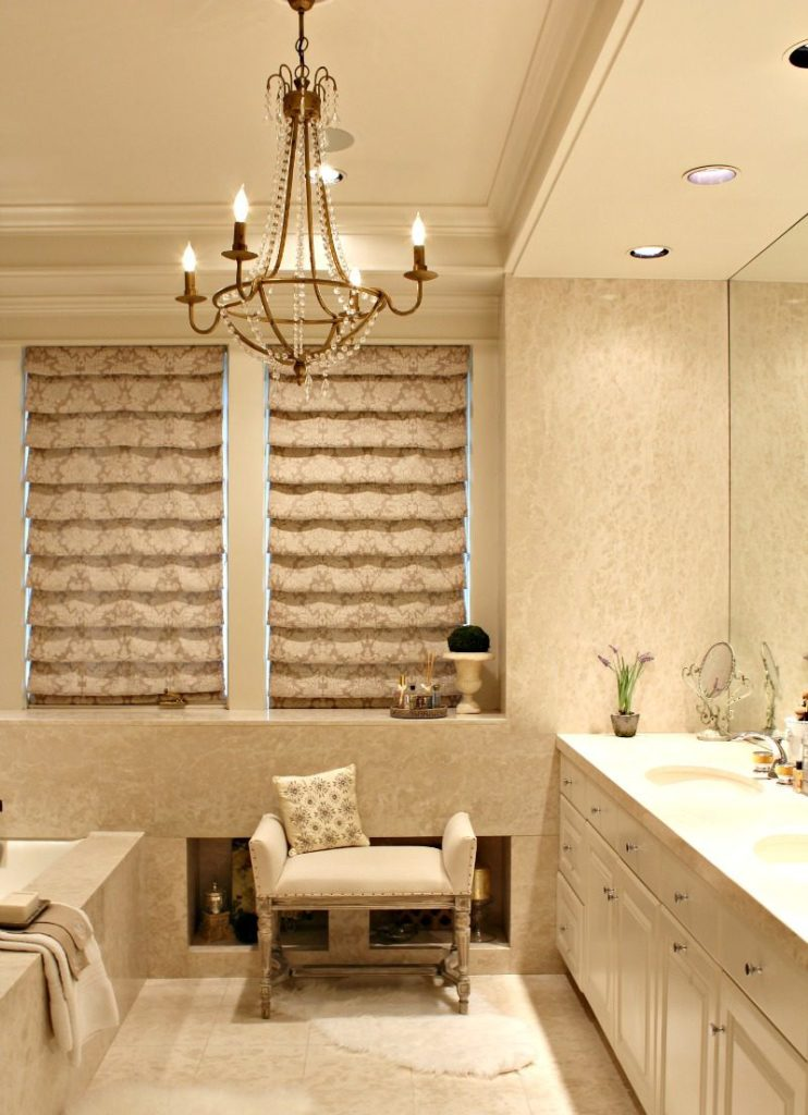 Master Bath For A Home Spa Experience With Custom Chandelier And Aidan Gray Bench