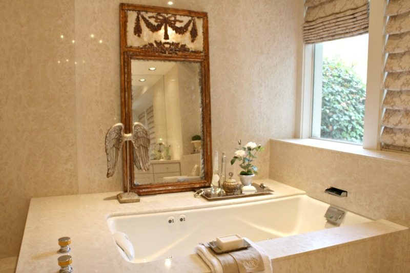 Relaxing Bathroom Retreat With Marble Spa Bath And Elegant Details And  Dreamy Luxury