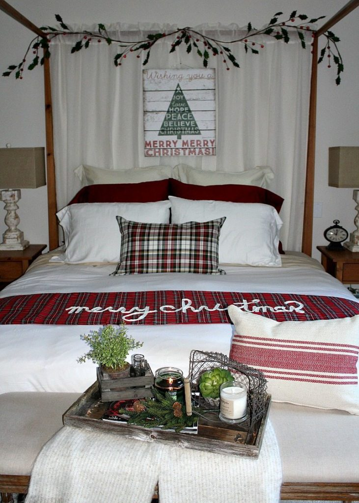farmhouse rustic country cozy bedroom look for the holidays