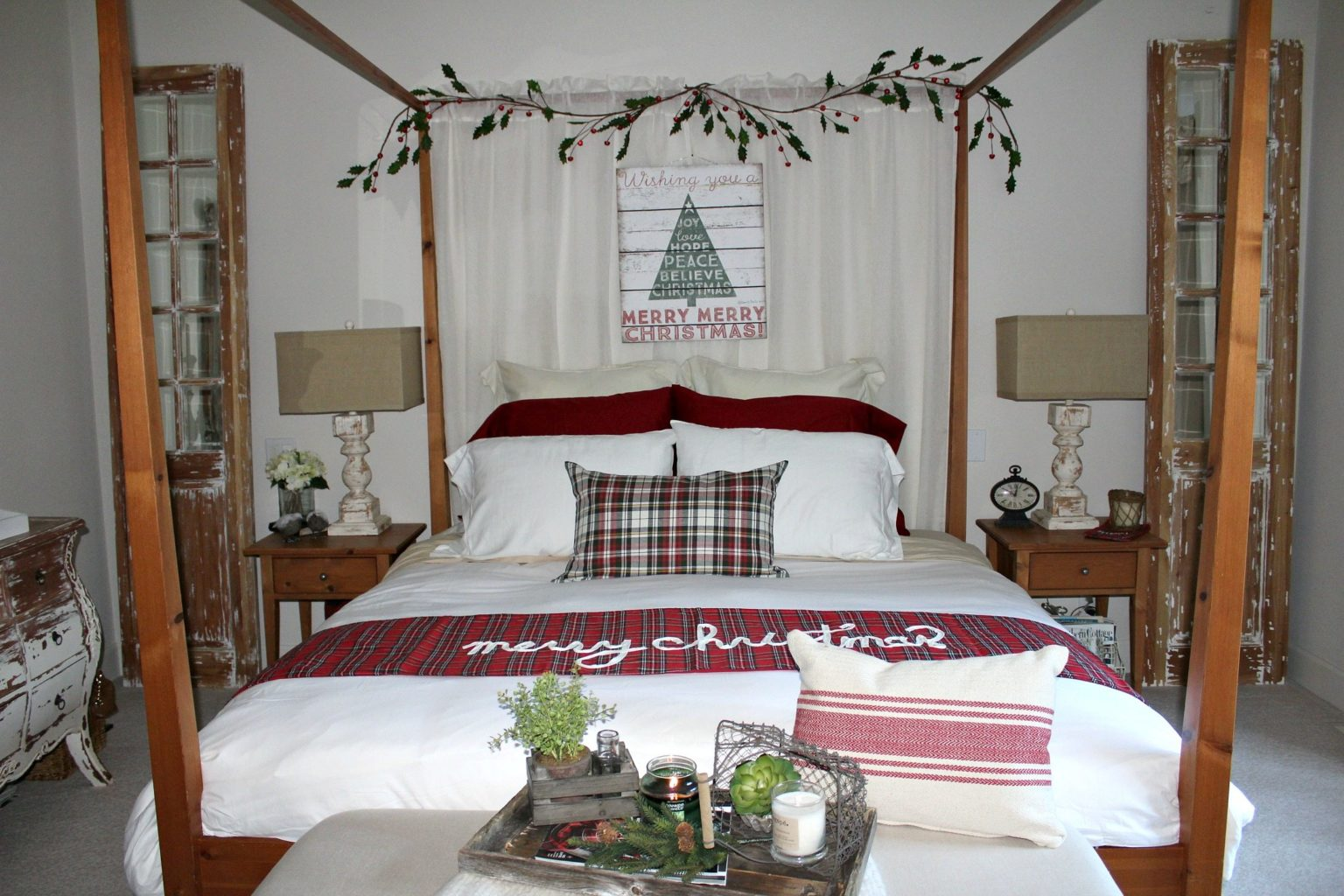 Country Christmas Bedroom decor with traditional farmhouse style