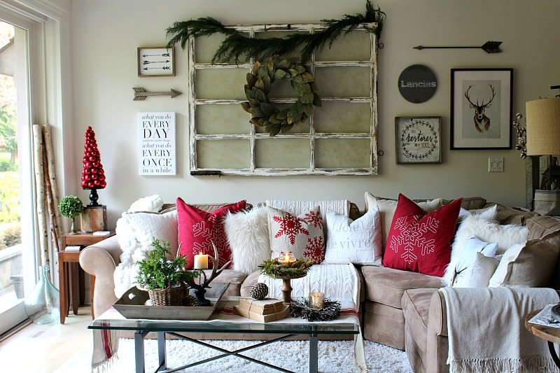 Family room decorated for Christmas with traditional, modern farmhouse elements