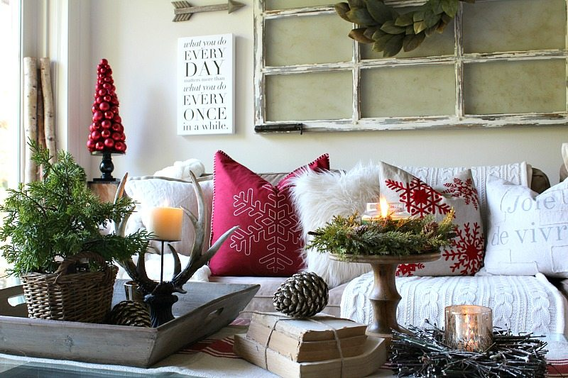 Rustic Farmhouse elements create a cozy Christmas feel in this holiday home tour