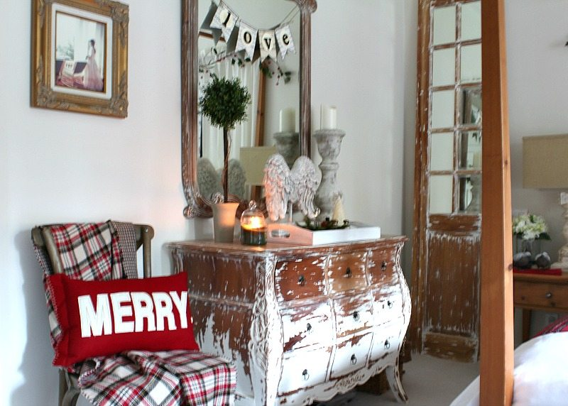 master bedroom gets updated for holidays with charm