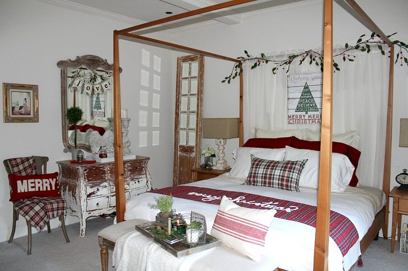 holiday reds and tartan add to master bedroom Christmas makeover