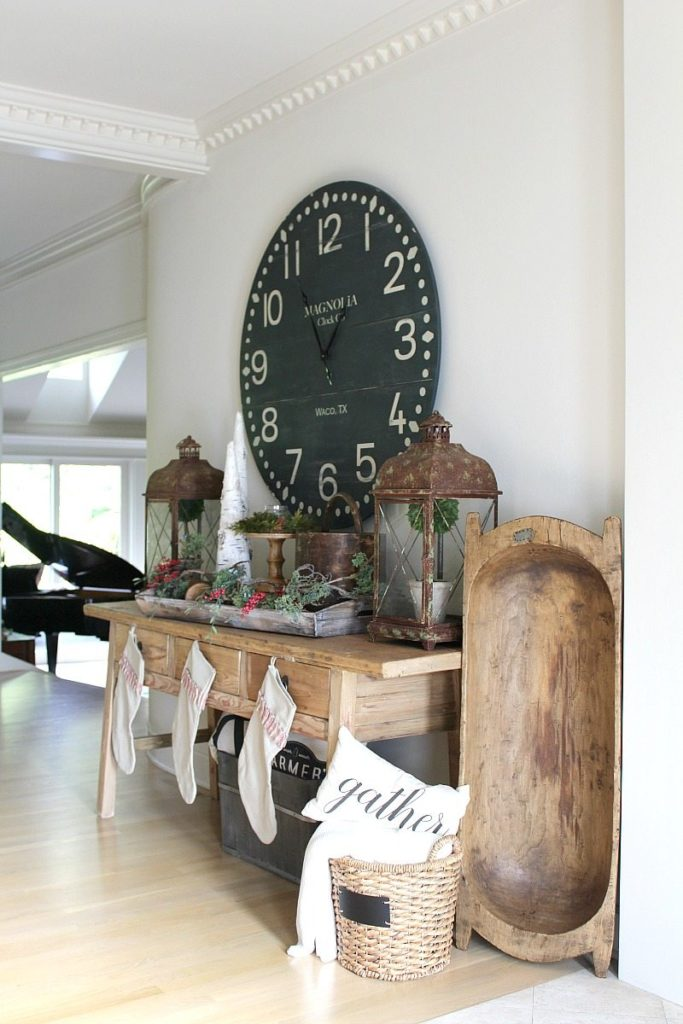 farmhouse Style Entry with rustic details for holidays