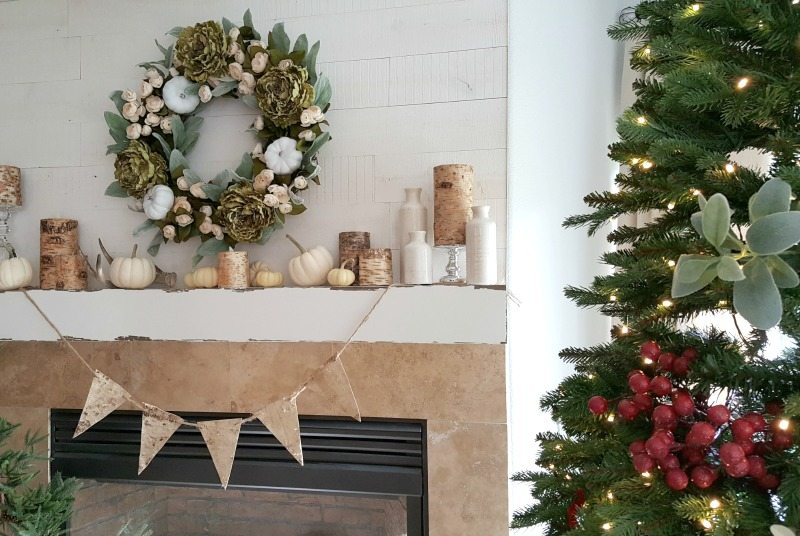 Inspired Christmas Decor: Fall wreath with neutral and soft greens gave inspiration to my Christmas decor