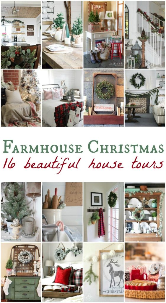 Farmhouse Christmas home decorating blog tour pin