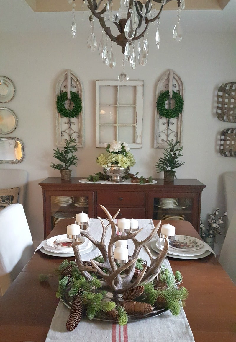 Antler centerpiece mixed with farmhouse details for holiday table