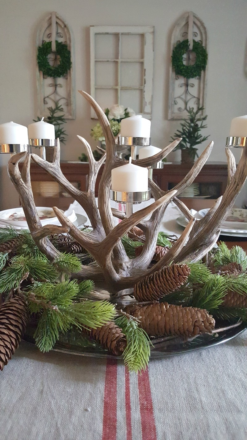 antler centerpiece inspired Christmas decor