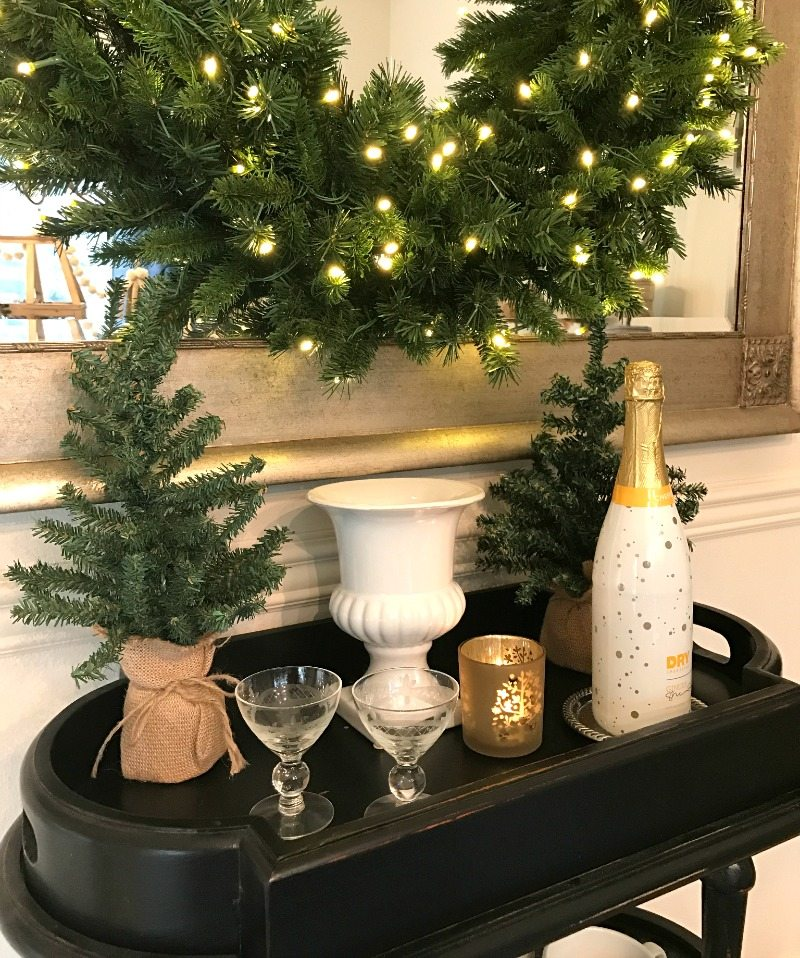 festive bar cart is fun and functional