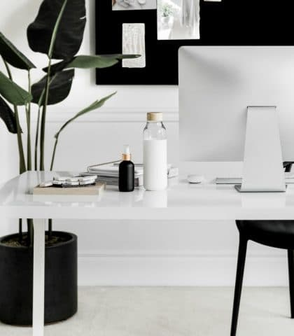 black and white desk with computer and floor plant