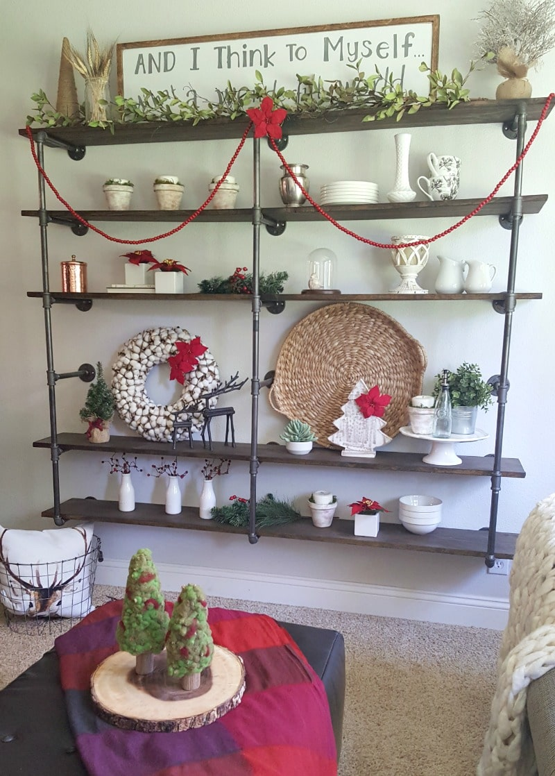 industrial pipe shelves for christmas