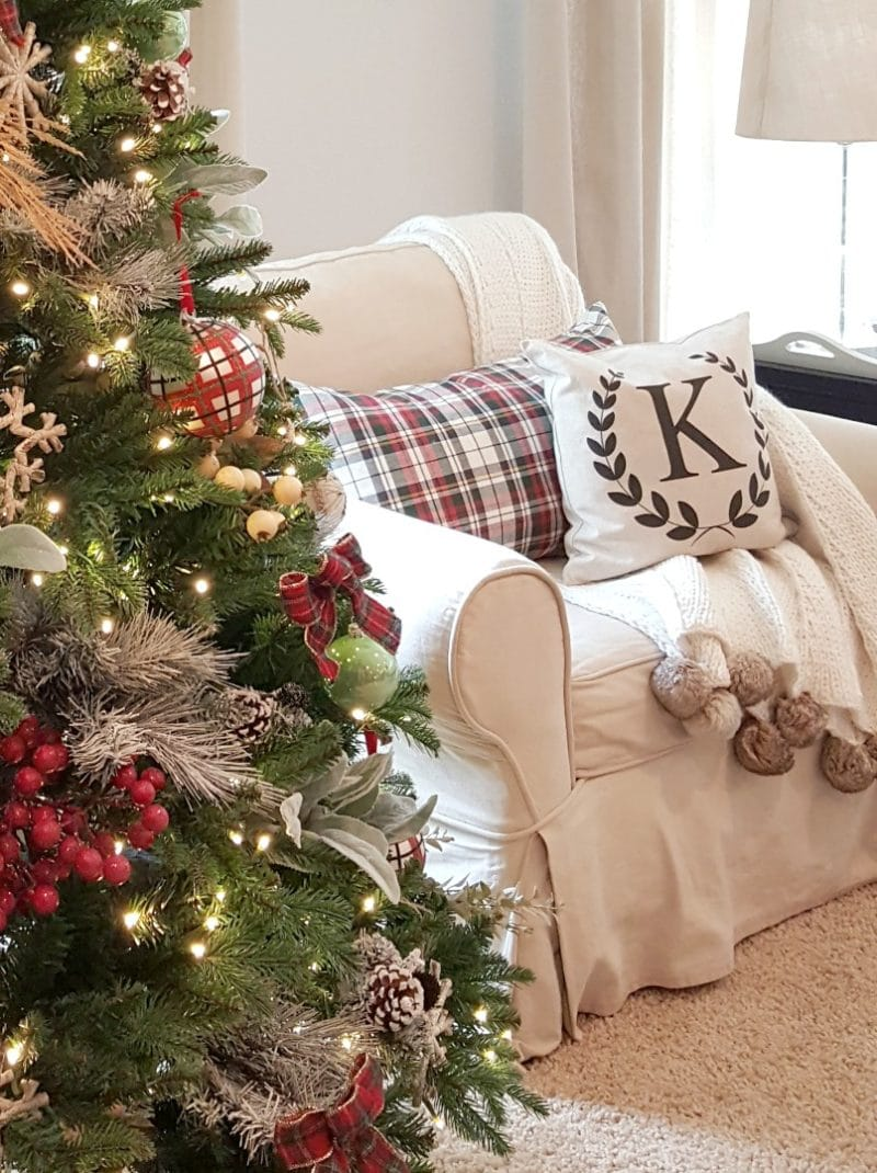 inspired Christmas decor with cozy seating and Christmas tree