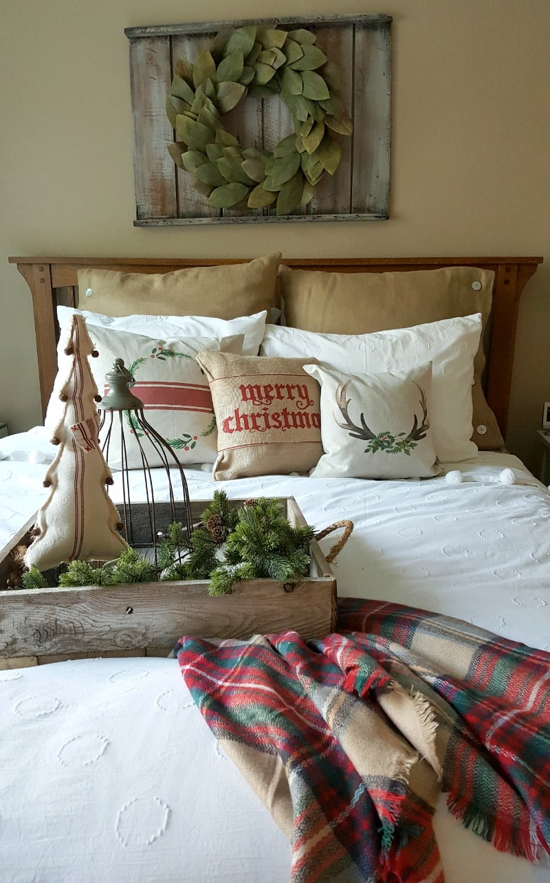 guest bedroom with country cozy rustic holiday decor