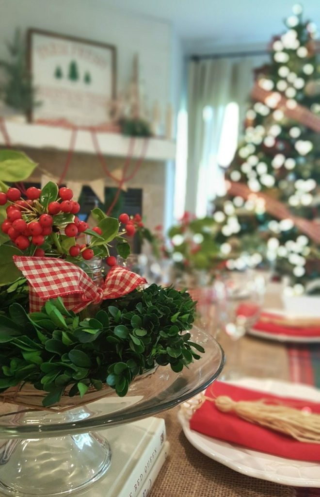 festive holiday tablescape with twinkly lights