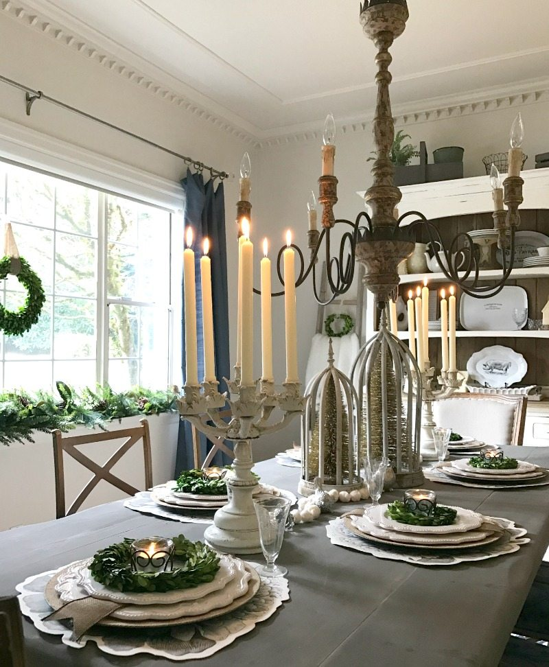 Gray wash farmhouse table with gorgeous elegant holiday tablescape show decorating details to inspire your own creations.