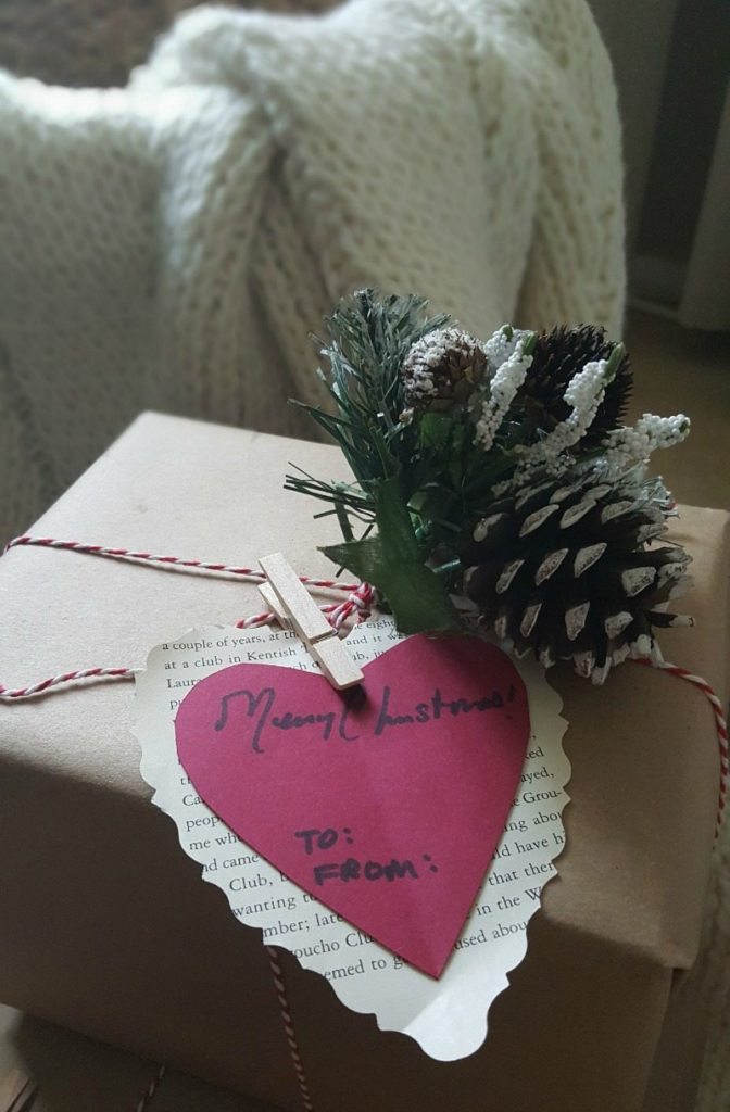paper heart packages and pinecones