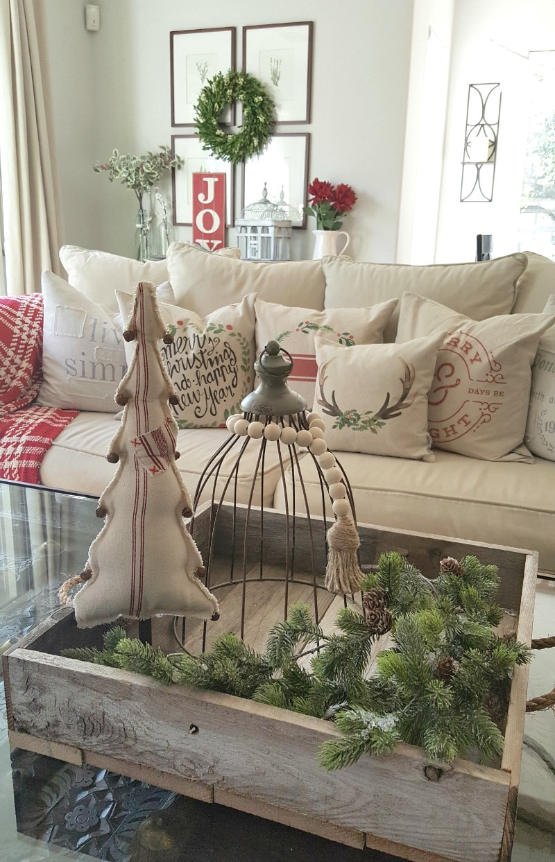Inspired holiday decor with pillows and vintage finds