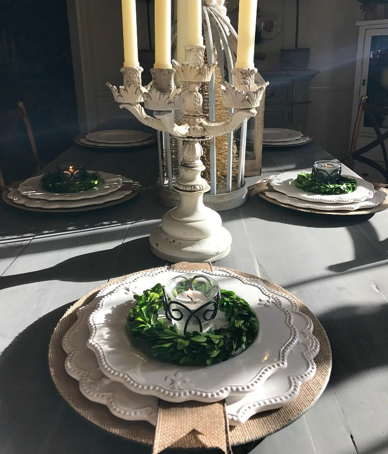 elegant dramatic table with antique candelabra and farmhouse neutral details
