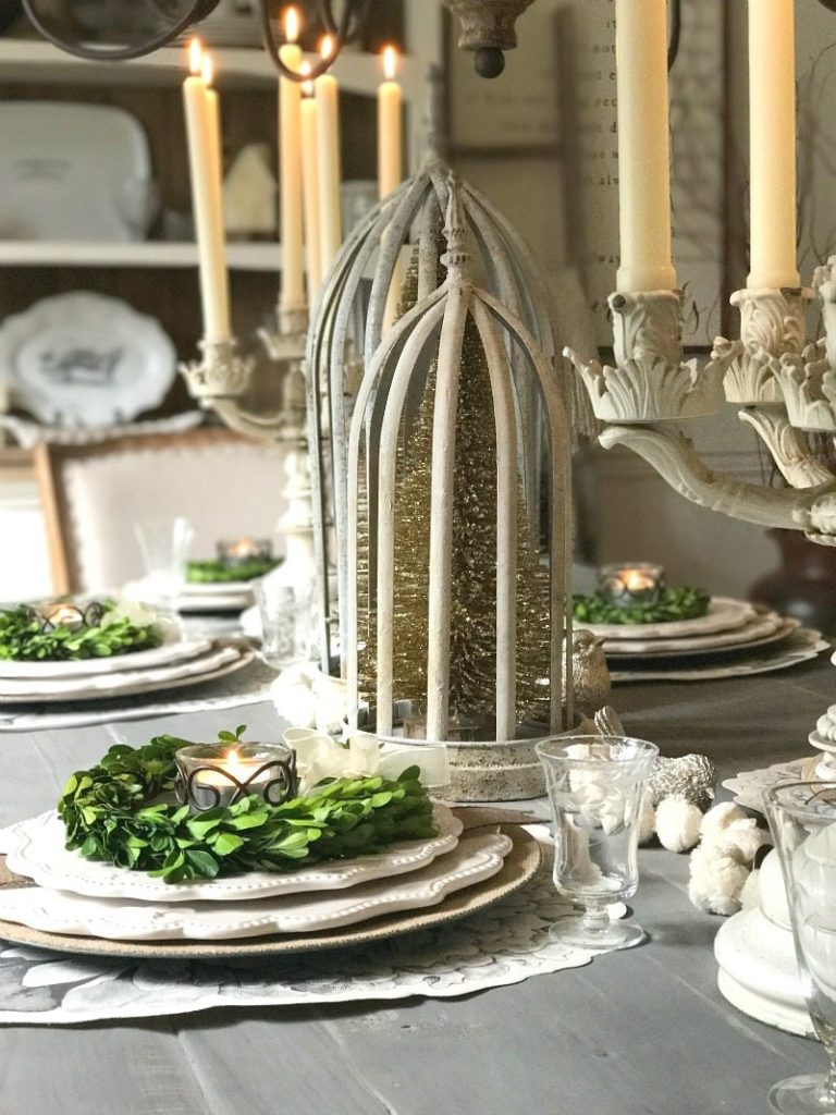 Antique elegance mixed with farmhouse neutrals create a one-of-a-kind tablescape