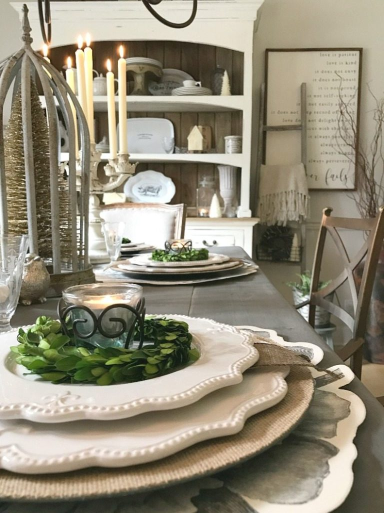 Elegance mixed with farmhouse flair create a magical tablescape