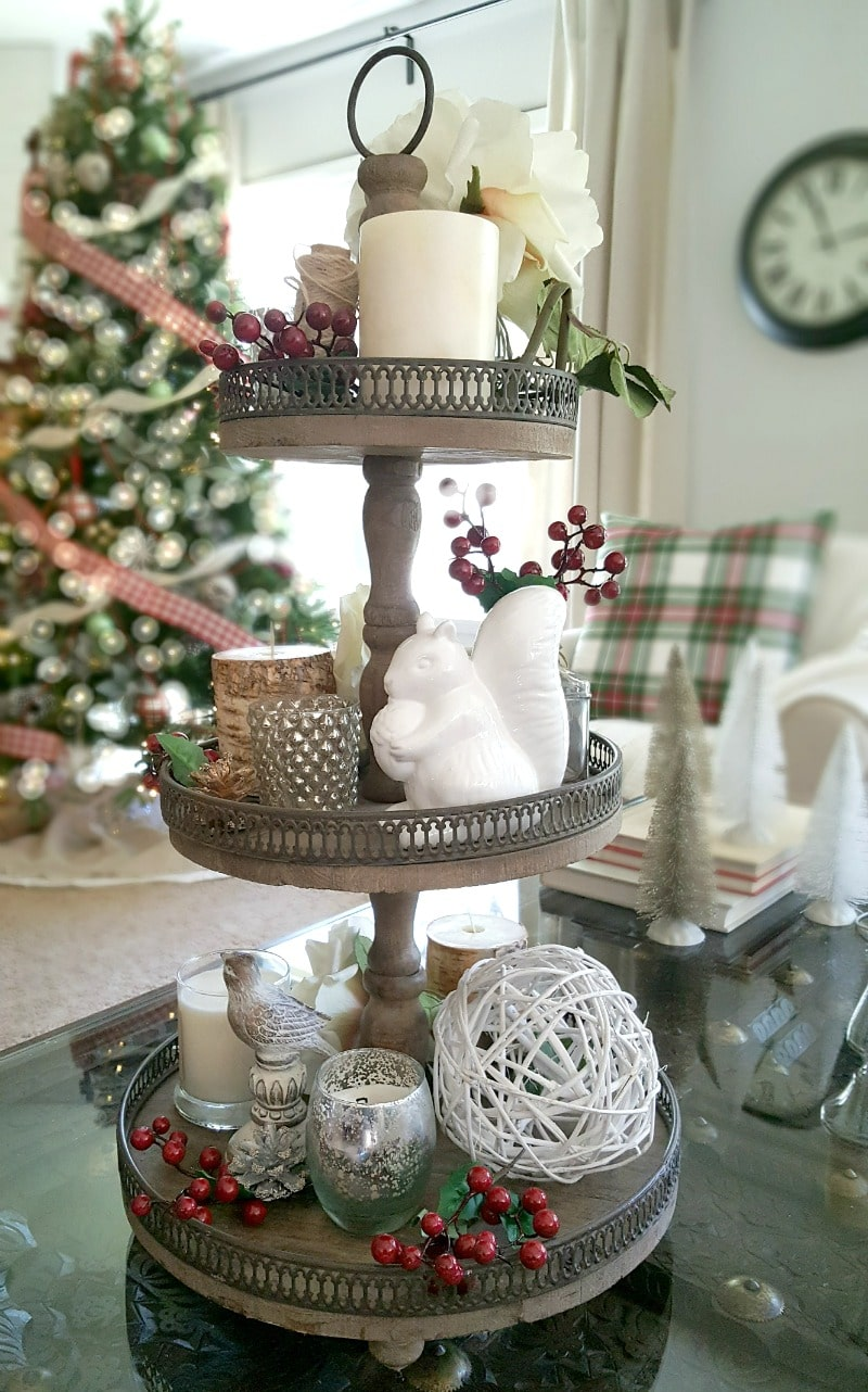 Decorate three tiered tray for Christmas