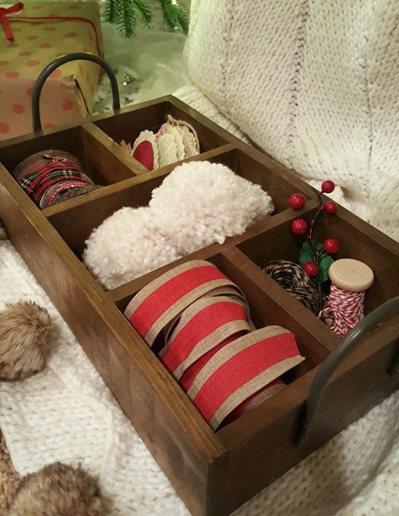 cute wooden caddie to organize your wrapping supplies